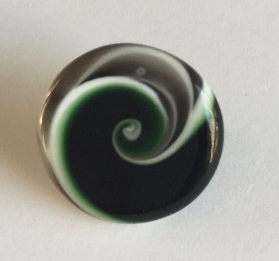Lampwork Glass Button with Self Shank - Black/Green/Gray/White Swirls