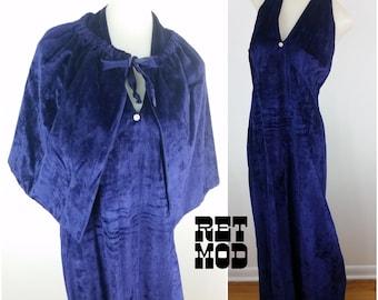 Way Hot Vintage 70s Boho Babe Indigo Crushed Velvet Witchy Halter Maxi Dress with Matching Cape!
