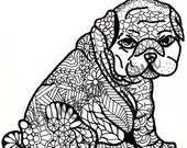 Adult Coloring Page - Pudgy Puppy - Instant Download - Zentangle - Doodle Illustration - DailyDoodler - Unique puppy dog Illustration