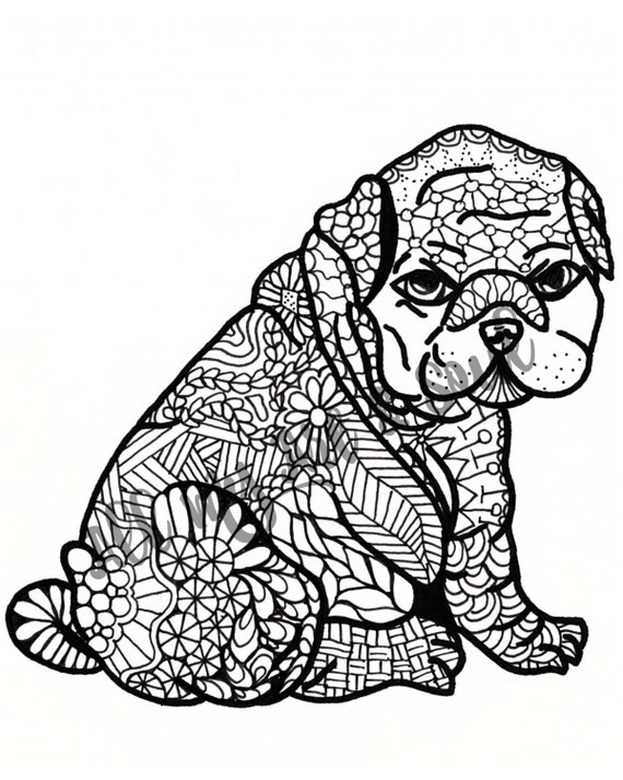 Volwassen Kleurplaat Pudgy Puppy Instant Download