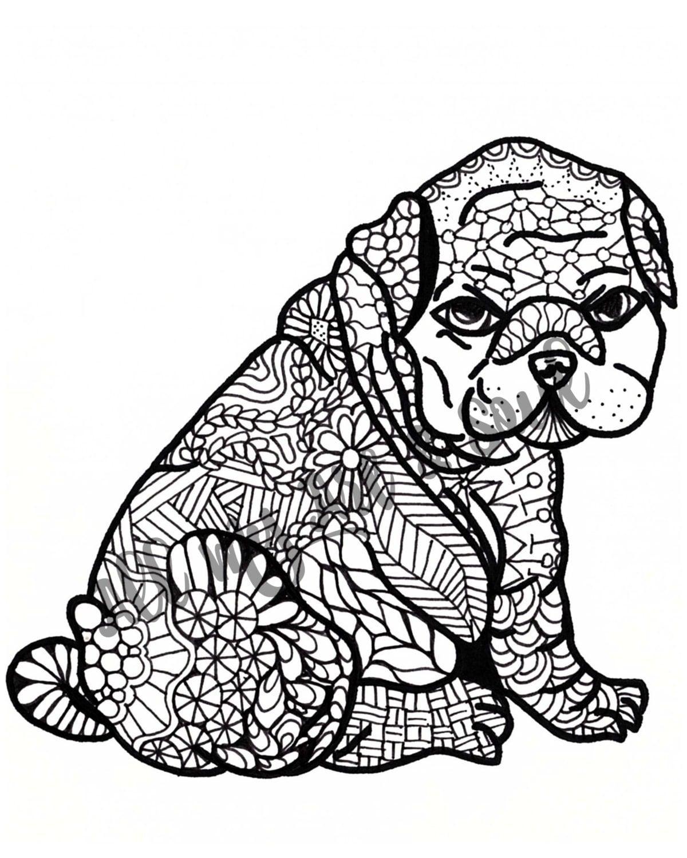 Volwassen Kleurplaat Pudgy Puppy Instant Download