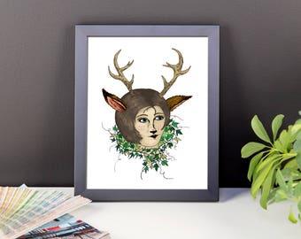 Deer Lady framed art print | Hipster | Nature | Woodland | Folk | Artwork