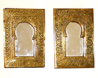 FREE SHIPPING!! Two Small, Moroccan Mirrors,  Gold Colored,  Pocket Sized, Africa, Berber, African, Morocco, Boho, Bohemian