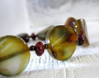 Agate Bracelet, Brown Bracelet, Indian Agate Bracelet, Copper, Earthtones Bracelet, Natural Stone Bracelet, Brown Black - Falling Leaves