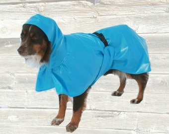 Hooded Dog Raincoat, tummy panel, unlined, Custom made for your dog