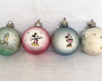 Vintage Disney Christmas Ornaments Set of 4