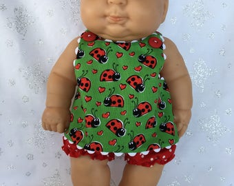 Ladybugs and Dots Dress with Bloomers for 13 inch baby doll like Berenguer