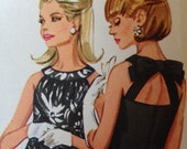Bow Back Vintage 60s Dress Pattern 34 bust Butterick 4631