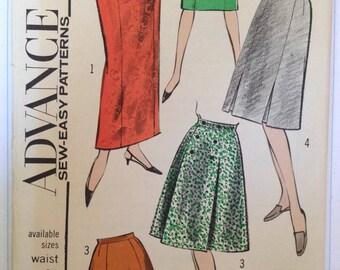 Vintage 60s Skirt Pattern 26 waist Advance 3564 Uncut FF A Line Slim Long Short Wardrobe