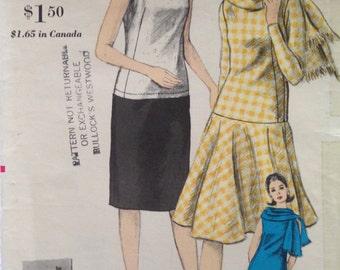 Vintage 60s Drop Waist Dress Pattern w/ Scarf 34 bust Vogue 6073