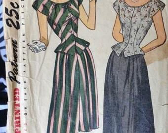 Simplicity 1932 Vintage 40s Blouse & Skirt Pattern 32 bust size 14