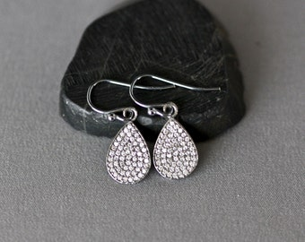 Pave Earrings - White Topaz Earrings - Bridal Jewelry - Pave Jewelry - Evening Jewelry - Special Occasion Jewelry - Sparkling Earrings