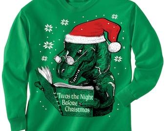 TODDLER Christmas sweater Tee -- Dinosaur reading book T REX - long sleeve t shirt - kids toddler youth sizes