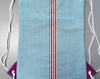 Drawstring Backpack: Hand Made from Ecuador Hammock, Inside Zipper Pocket (E22) Blue and Pink stripes