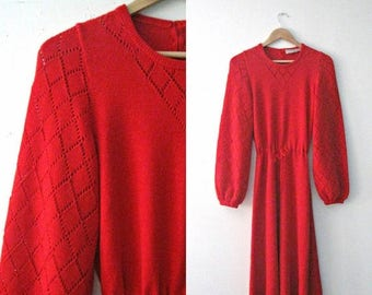 SALE Vintage 60s red sweater dress / pointelle red bell sleeve 60s knit dress / Boho Hippie sweetheart dress