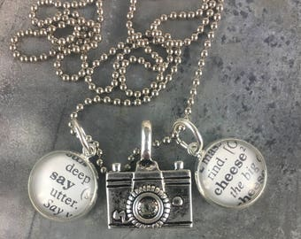 Dictionary Word Necklace - Say Cheese with Camera Charm