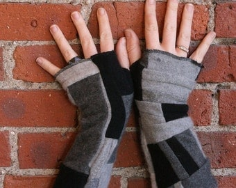 100 percent cashmere fingerless gloves - patchwork armwarmers - cashmere gloves - black and gray