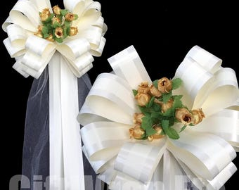 Church aisle decor etsy 6 ivory pull pew bows metallic gold mini roses tulle wedding church aisle decorations junglespirit Image collections