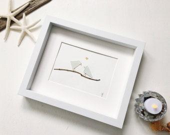 Lovebirds Art / Couple Art / Home Decor /Seaglass Art / Birds / Branches