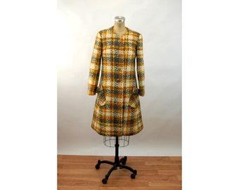 1960s tweed coat plaid wool coat gray yellow orange matching scarf Size M