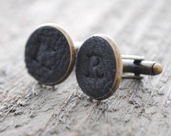 Leather Monogrammed Cuff Links - Black Leather - Groomsmen, Groom Gift, Father's Day Gift, Graduation Gift