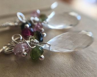 Rock Crystal Petal Earrings with Tourmaline in Sterling Silver