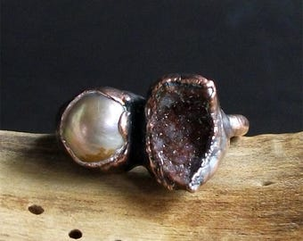 Druzy Pearl Raw Rough Copper Dual Stone Size 6.5 Gemstone Golden Rust Stone Jewelry Midwest Alchemy Natural Ring Handmade