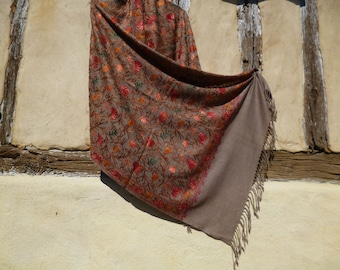 "Soft Wool Dark Beige Luxurious shawl/stole. Pure  wool . Kashmir. 80 x 20"" 203 cm x 50 cm"