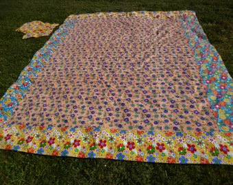 "Double Size Pink Floral Patchwork Quilt Ralli Bed cover and cushions. Cotton. 108 X 90"" Hand sewn."