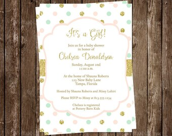 Polka Dots Baby Shower, Sprinkle Invitation, Girl, Pink, Green, Gold, Glitter, 10 Printed Cards with Envelopes, FREE Ship, SWDTP, Sweet Dots