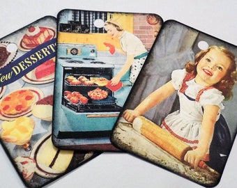 Baking Gift Tags - Variety Set 9 - Moms Baking - Mother's Day - Vintage Cooking - Making Cookies - Retro Kitchen - Moms In Kitchen -