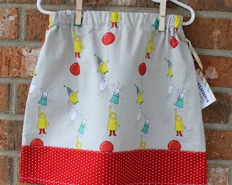 Bunny and Balloon Girl's Cotton Skirt Size 4T Ready to Ship
