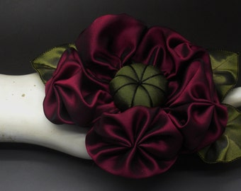 Large Deep Berry Puffy Flower Applique