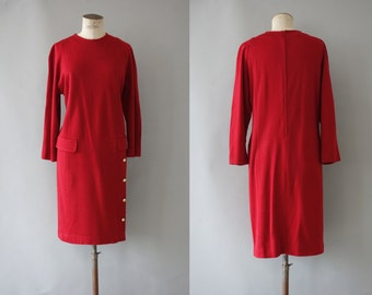Red dress | Jersey sweater dress | 1980 by Cubevintage | large