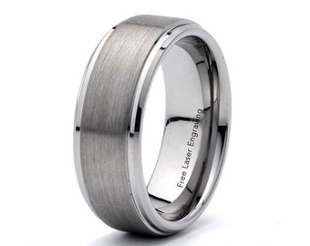mens brushed tungsten wedding band 8mm stepped edge anniversary band custom engraved tungsten wedding ring mens wedding Ring Personalized