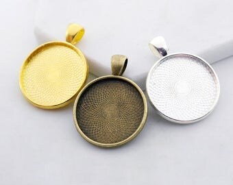 4Pcs 25mm Antique Bronze / Silver / Golden Cabochon Pendant Base with A Loop (C2520)