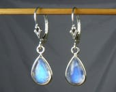 AAAA Rainbow Moonstone Earrings, AAAA Rainbow Moonstone Teardrops, Glowing Blue Fire and Flash, Sterling Silver Bezels and Leverbacks