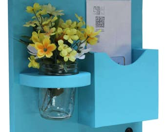 Mail Organizer - Mail Holder - Letter Holder - Mail Holder with Key Hooks - Jar Vase - Organizer