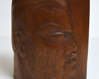 vintage Hawaii Polynesian WOOD SCULPTURE man's head