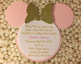 Tickled Pink Gold Glitter Baby Shower Minnie Mouse Invitations Minnie Invitations Minnie Mouse Head Invitation 1st Birthday Party Invite