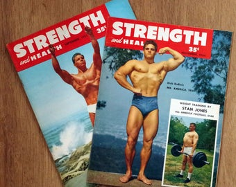 Two 1950s Strength and Health Magazines - Body Building Weight Lifting Training Magazines