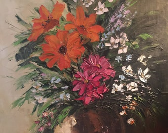 Floral Painting 1974 Vibrant Colors Nice Condition on Canvas Artist signed Vintage