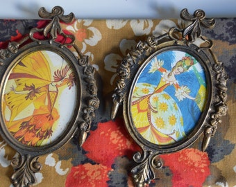 Set of Two Small Vintage Cinderella Themed Framed Prints