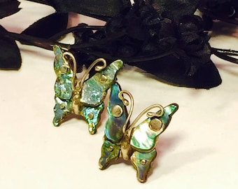 SALE CLEARNCE SALE Beautiful Old Mexican Butterfly Sterling Silver Mother of Pearl Vintage Earrings