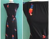 70's black parrot party print dress ~ small medium