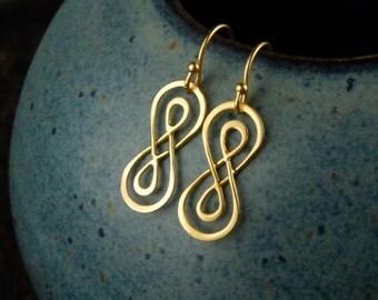 Double infinity earrings in gold, infinity knot, infinity symbol, gold infinity, eternity earrings, simple gold earrings