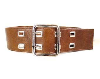 Vintage Handmade by Calderon Brown Leather Belt // Small