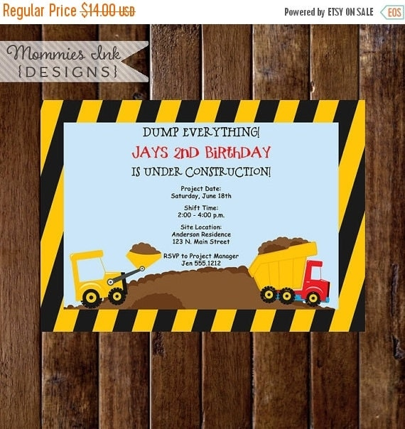 10% OFF SALE Construction Birthday Invitation, Construction Birthday Party, Construction Party Invite, Construction Printable, Dump Truck In