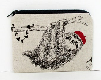 Tree Sloth Zippered Pouch, Red Beret Hat Sloth Bag, Natural Linen, Small Coin Purse