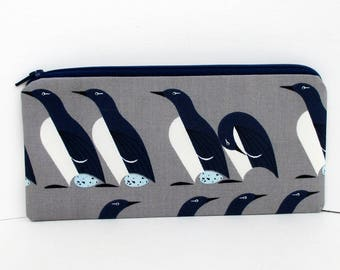 Penguin Zippered Pencil Pouch, Organic Cotton, Charley Harper Murre